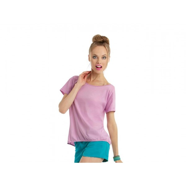T-SHIRT DONNA ARRICCIATA MANICHE CORTE ORCHID B&C COLLECTION
