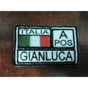 PATCH RICAMATA BANDIERA ITALIA CON NOME E GRUPPO SANGUIGNO - TOPPA TERMOADESIVA