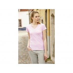 T-SHIRT DONNA LADY-FIT VALUEWEIGHT CON SCOLLO A V  FRUIT OF THE LOOM