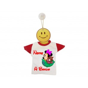 MINI T-SHIRT BIMBO A BORDO BICOLORE MINNIE CON PELUCHE