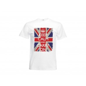 T-SHIRT UOMO STAMPA KEEP CALM AND CARRY ON